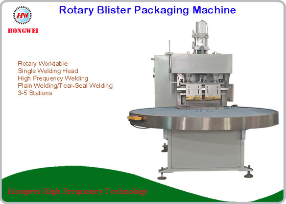 China Semi Automatic Rotary Blister Packing Machine Turntable Construction 0.5-0.6 Mpa distributor